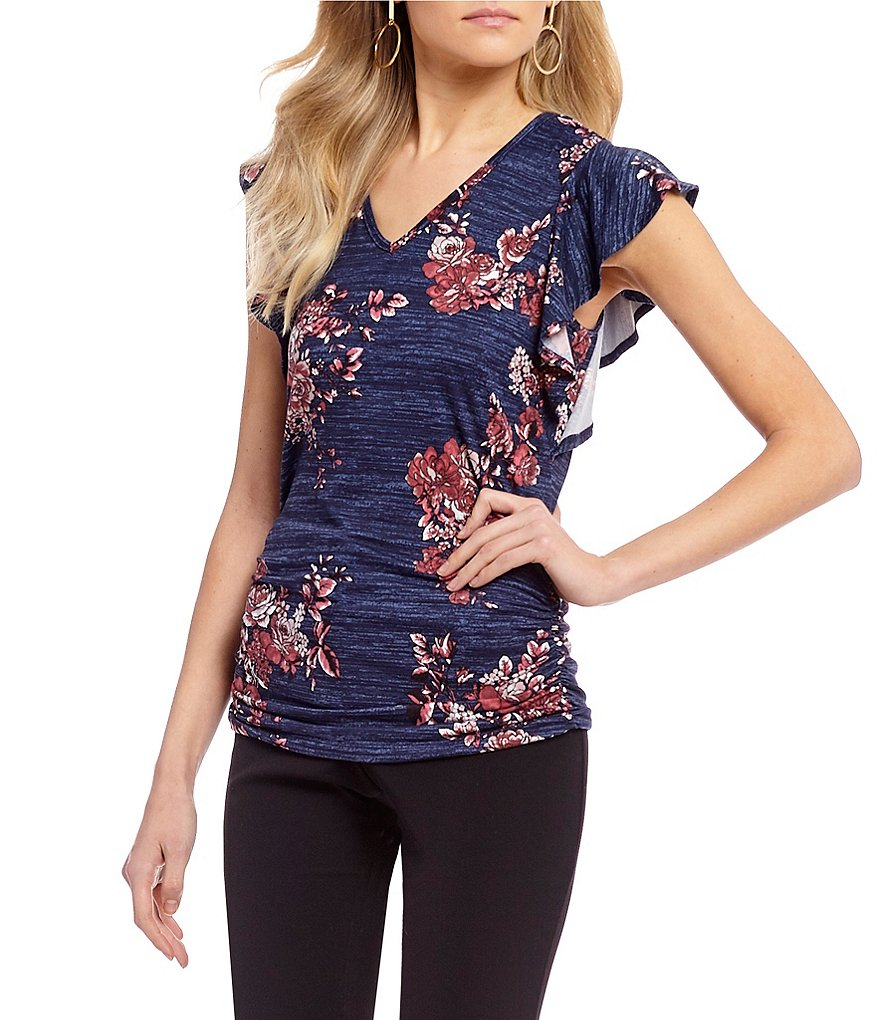 I.N. San Francisco Floral-Print Bar-Back Top