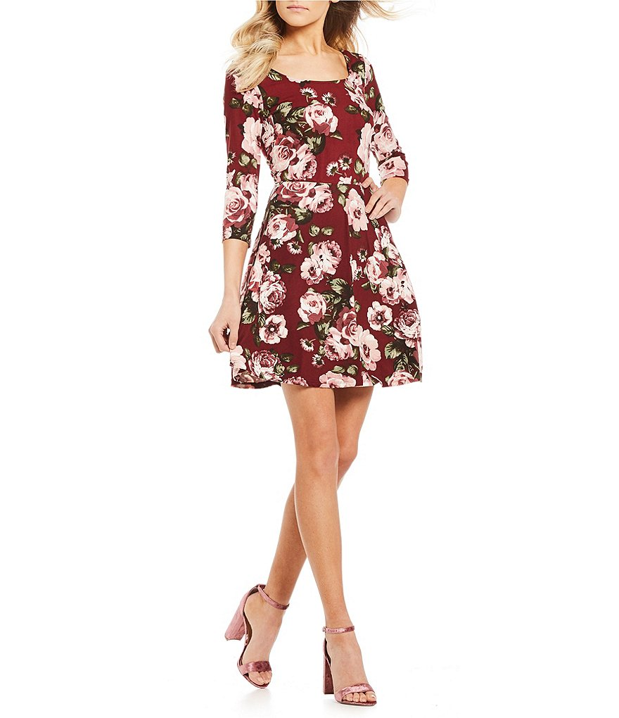 I.N. San Francisco Floral Print Knit Fit-And-Flare Dress