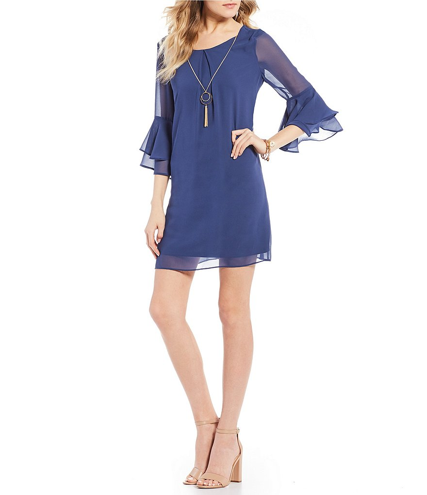 I.N. San Francisco Flutter-Sleeve Shift Dress