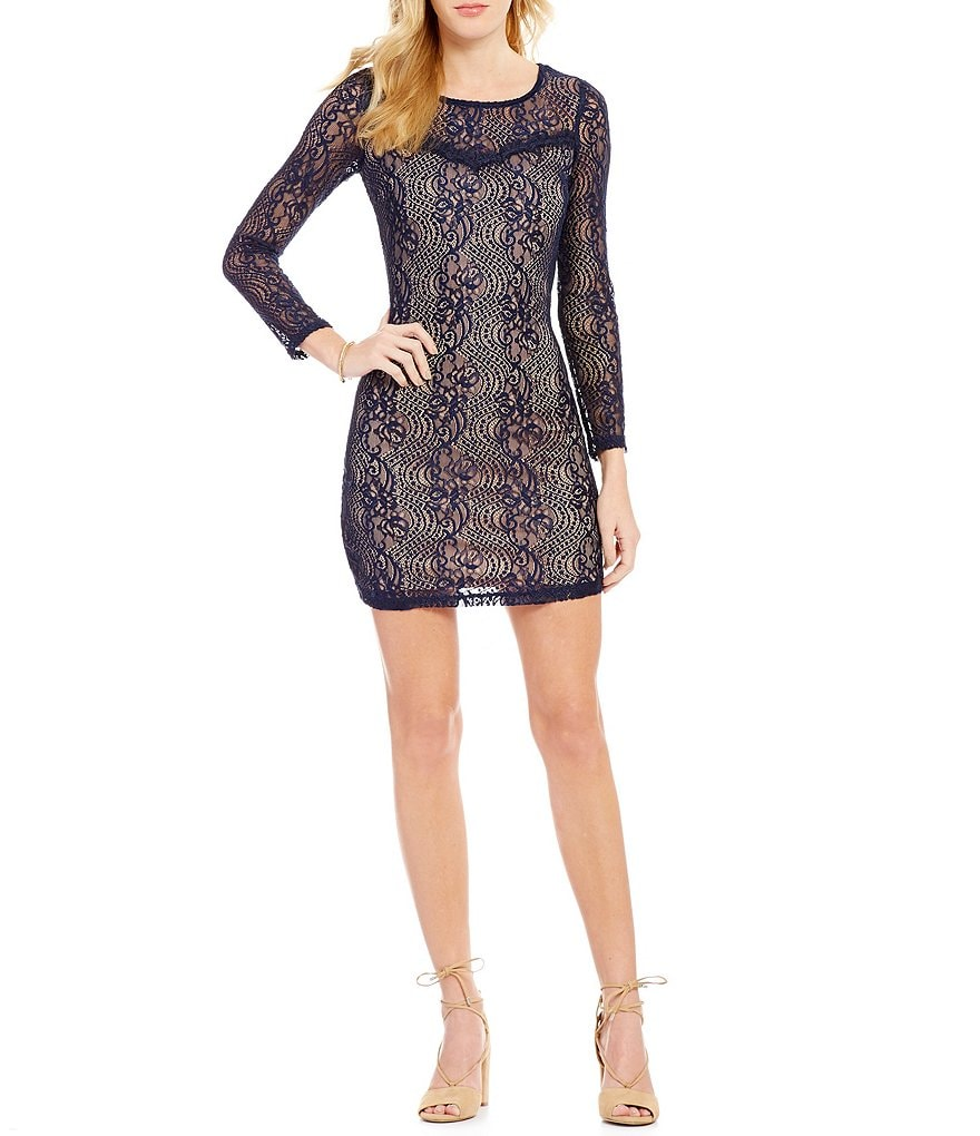I.N. San Francisco Illusion-Detailed Lace Sheath Dress