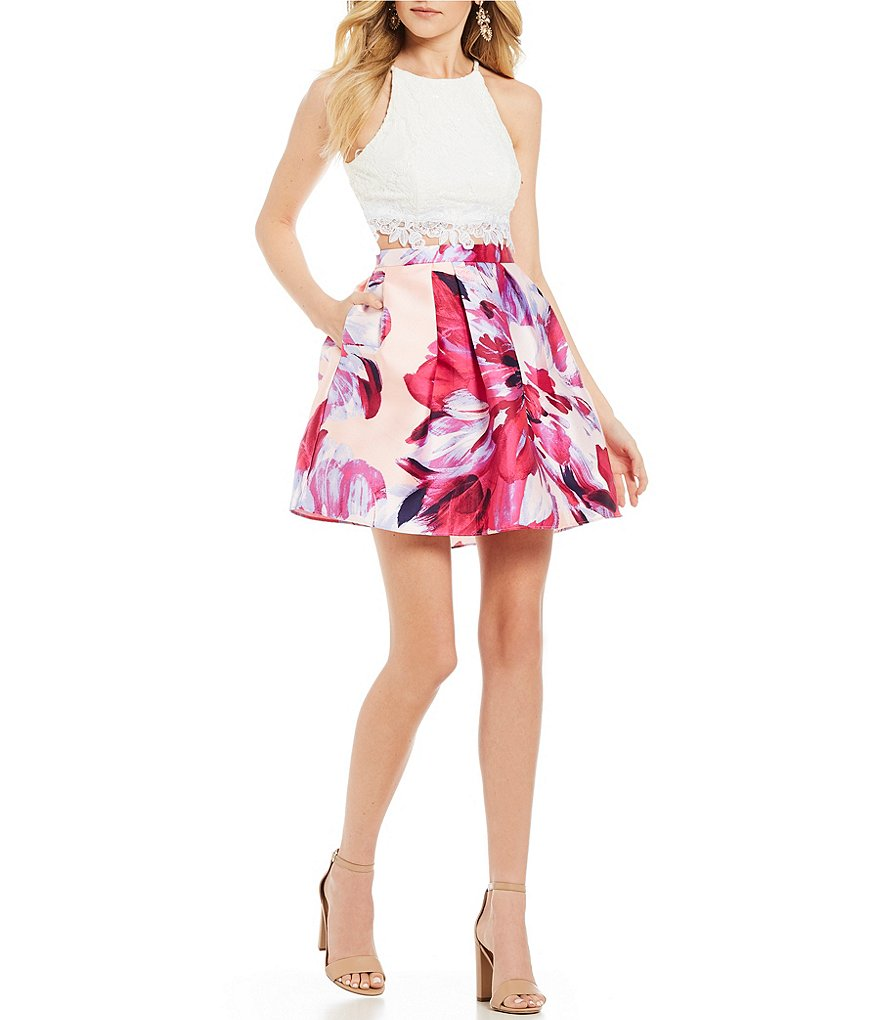 I.N. San Francisco Lace Bodice with Floral Two-Piece Dress