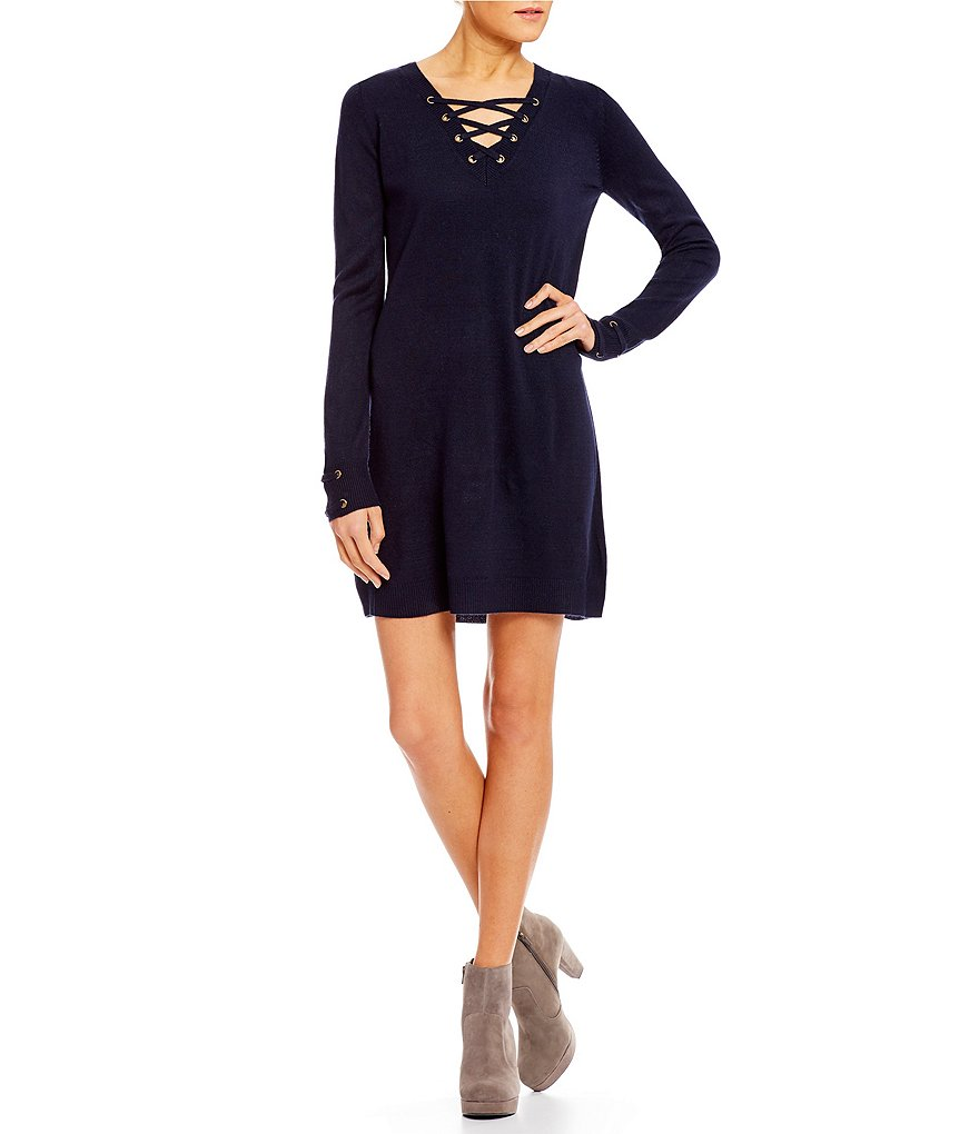 I.N. San Francisco Lace-Up Sweater Dress