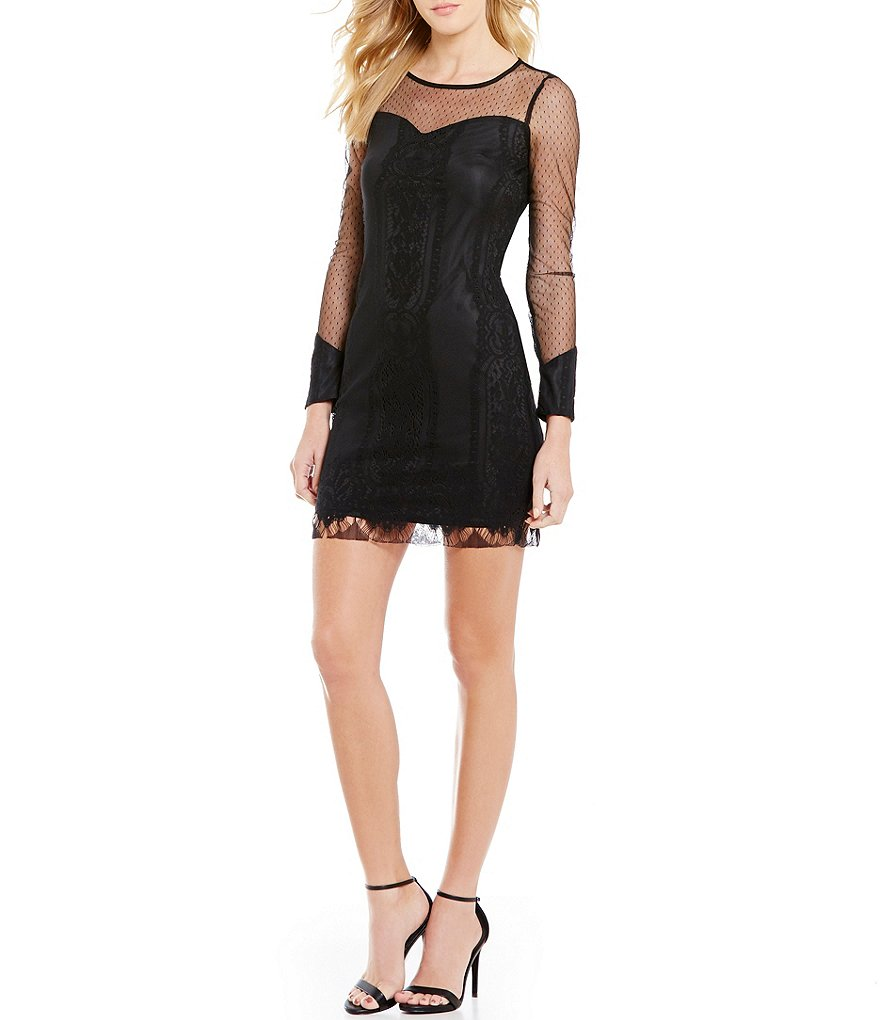 I.N. San Francisco Long-Sleeve Illusion Mesh to Lace Sheath Dress