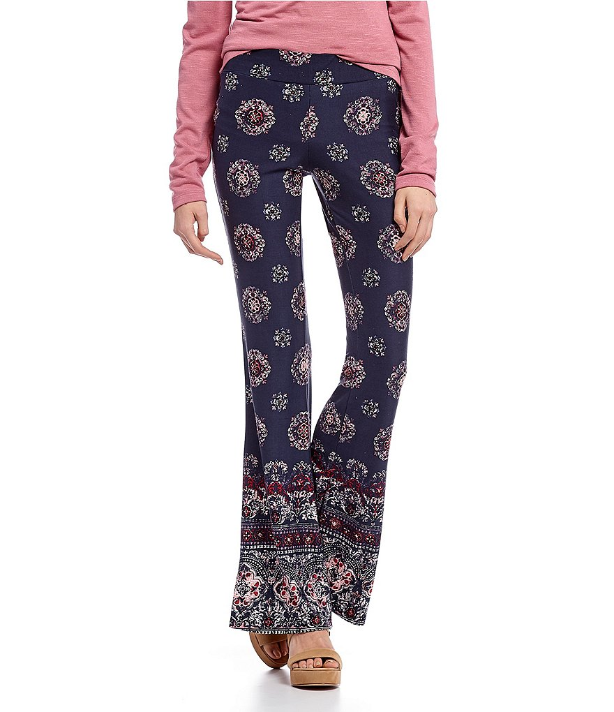 I.N. San Francisco Medallion-Print Brushed Knit Palazzo Pants