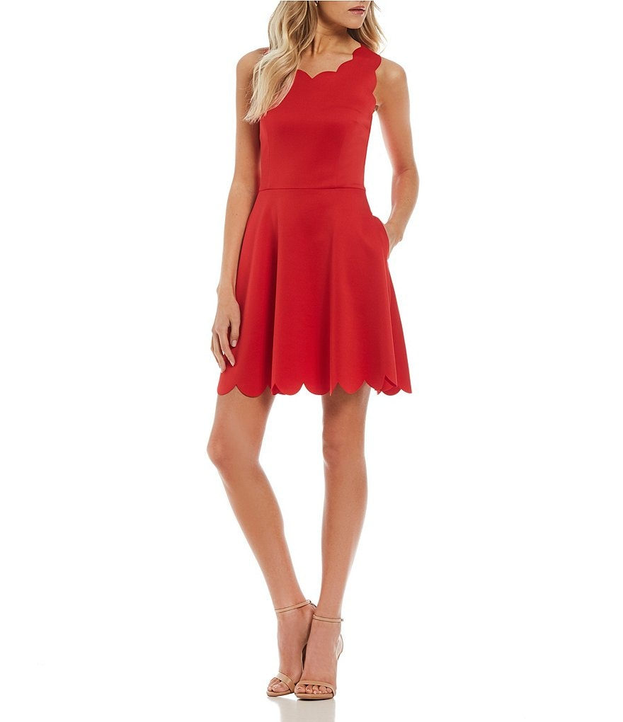 I.N. San Francisco Scalloped Fit-And-Flare Dress