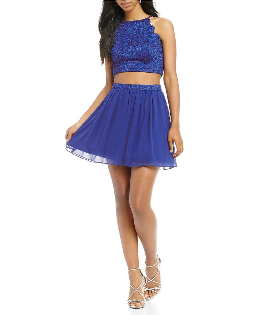 I.N. San Francisco Scalloped Lace Top Two-Piece Dress