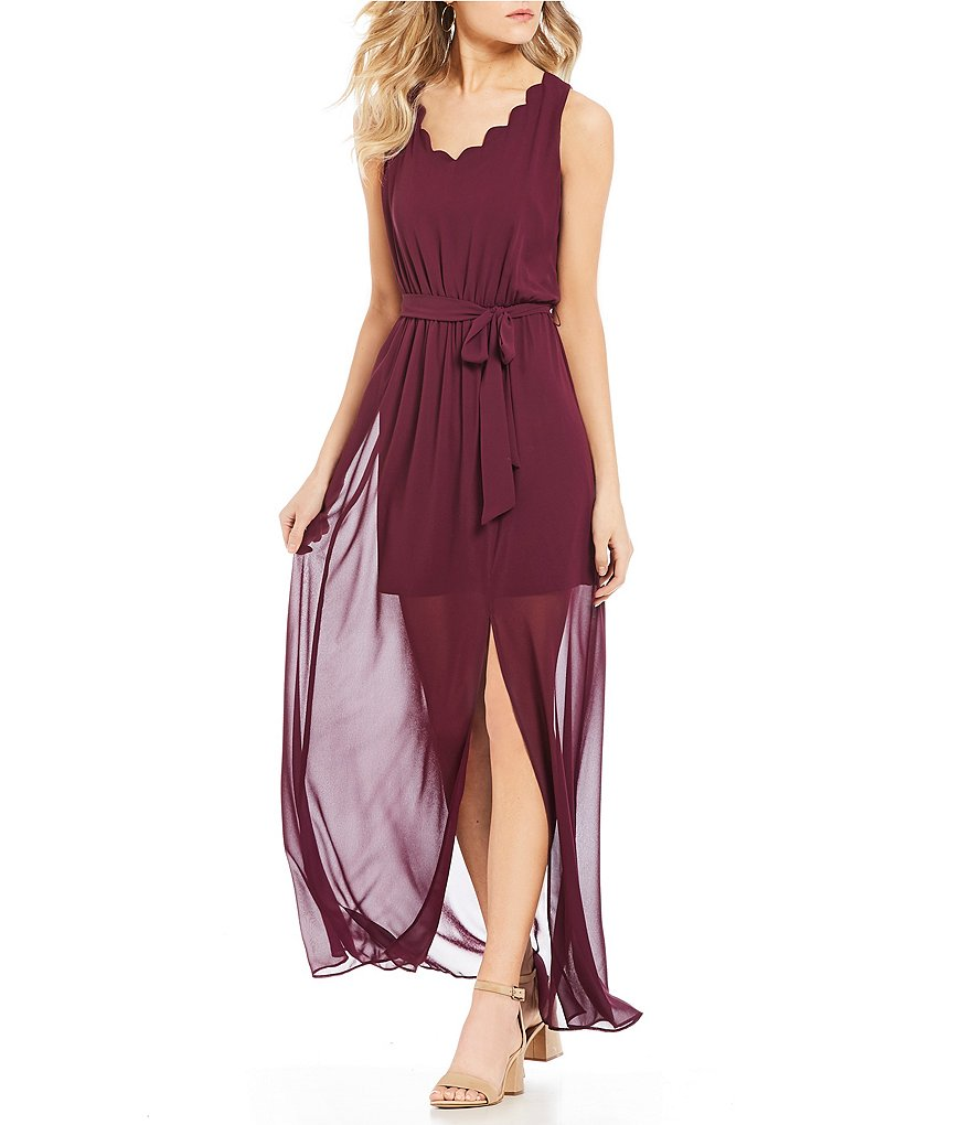 I.N. San Francisco Scalloped-Trim Maxi Dress