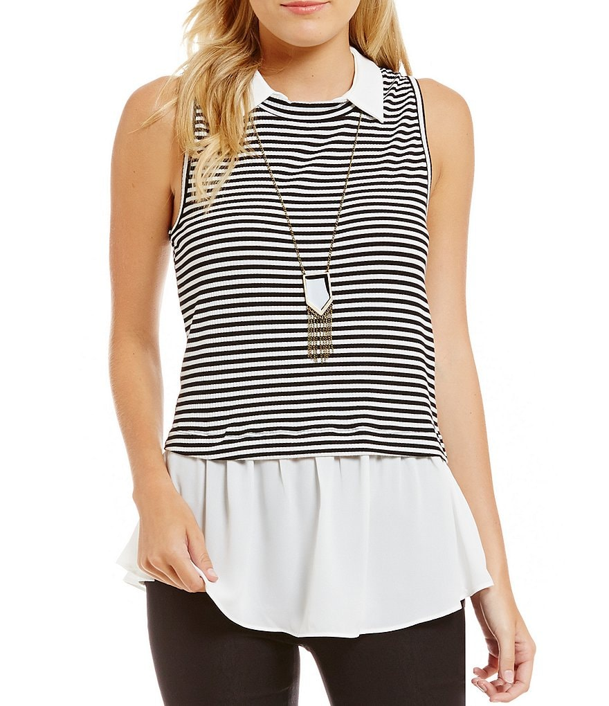 I.N. San Francisco Striped Two-Fer Necklace Top