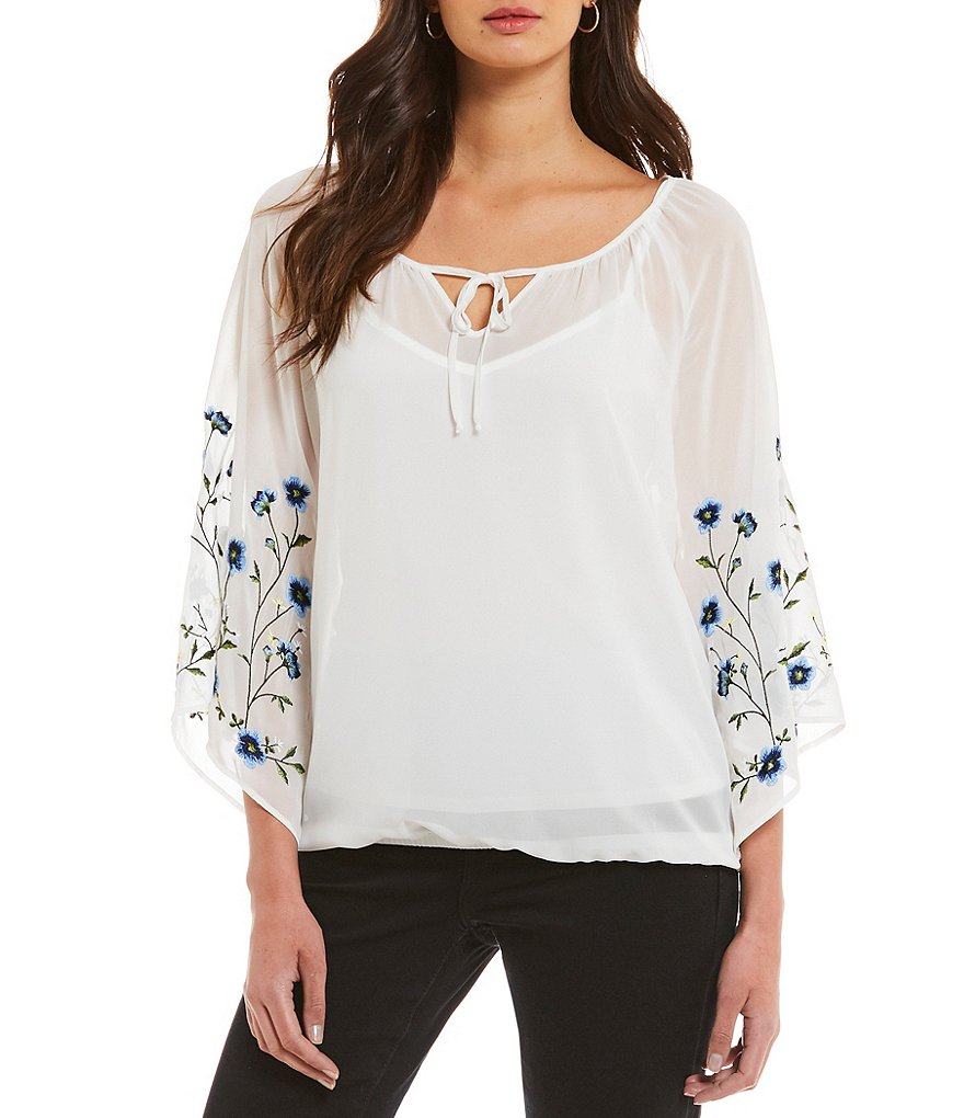 I.N. Studio 3/4 Floral Embroidered Sleeve Solid Peasant Top