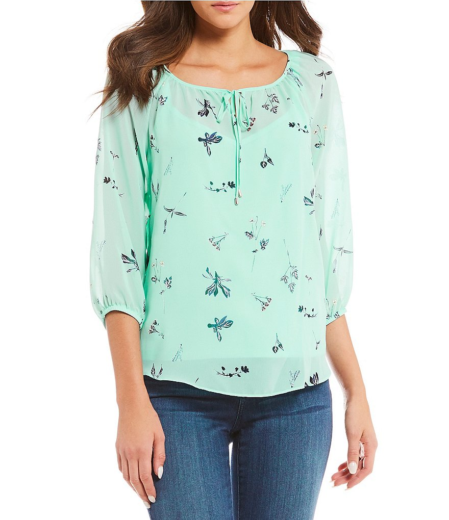 I.N. Studio 3/4 Sleeve Blossom Print Peasant Top