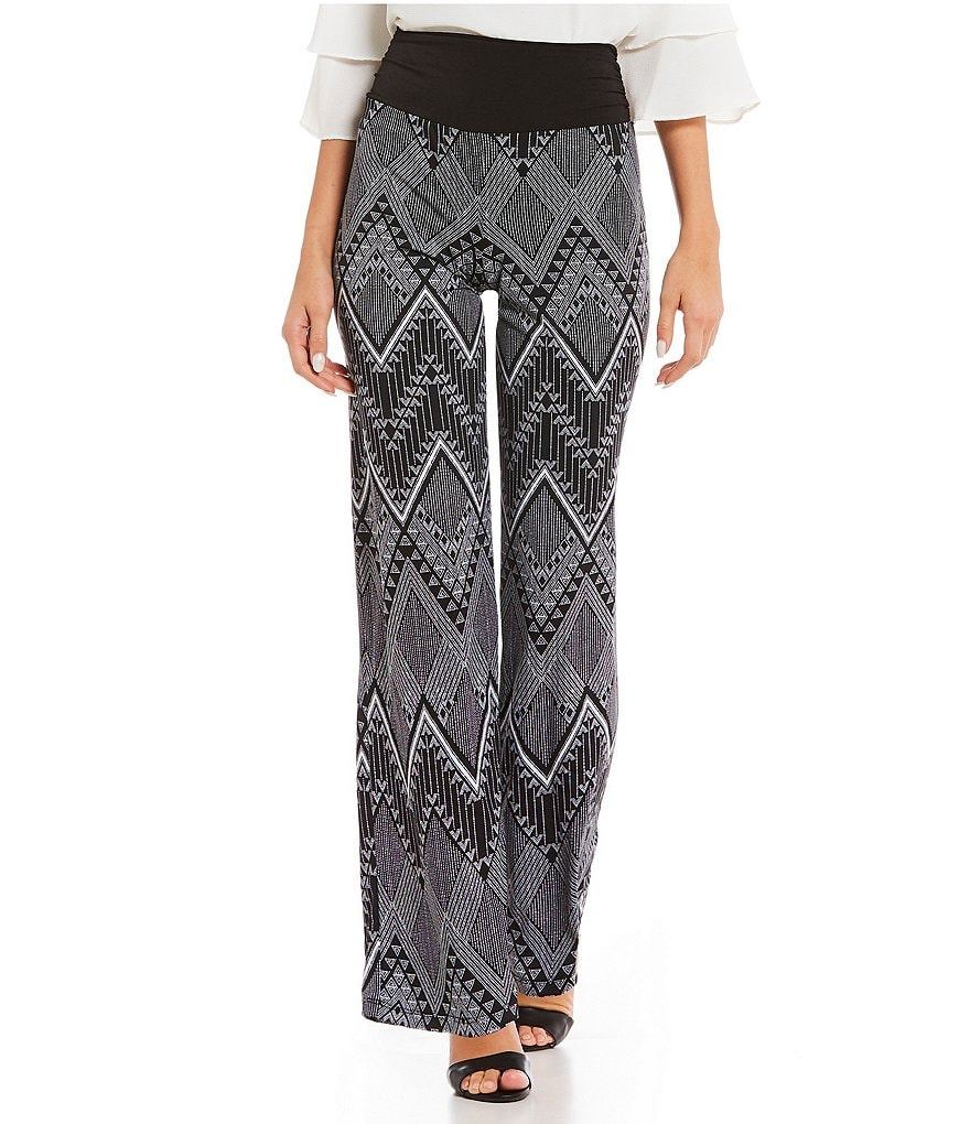 I.N. Studio Chevron Stripe Print Pull-On Knit Pants