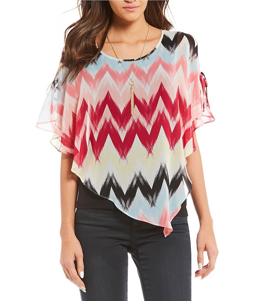 I.N. Studio Cold-Shoulder Asymmetrical Printed Overlay Top