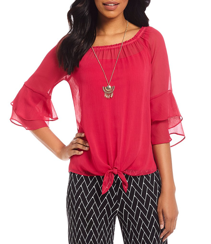 I.N. Studio Off-The-Shoulder Ruffle Sleeve Tie-Knot Top