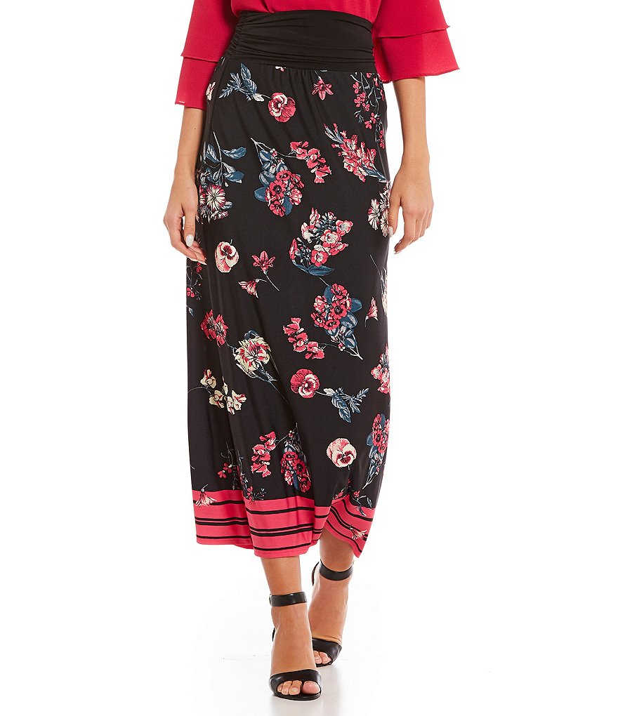 I.N. Studio Stripe Border Floral Print Pull-On Knit Midi Skirt