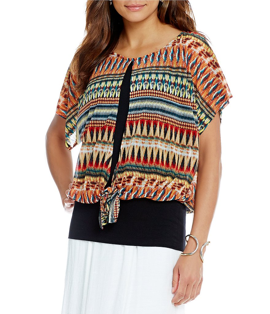I.N. Studio Tribal Stripe-Print Knit Chiffon Top