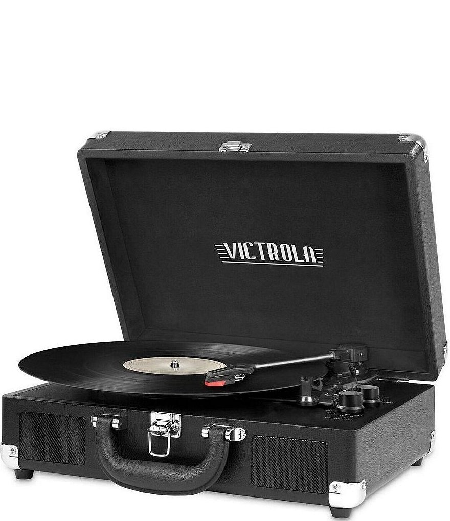 Innovative Technology Vintage 3-Speed Suitcase Record Player Bluetooth Turntable