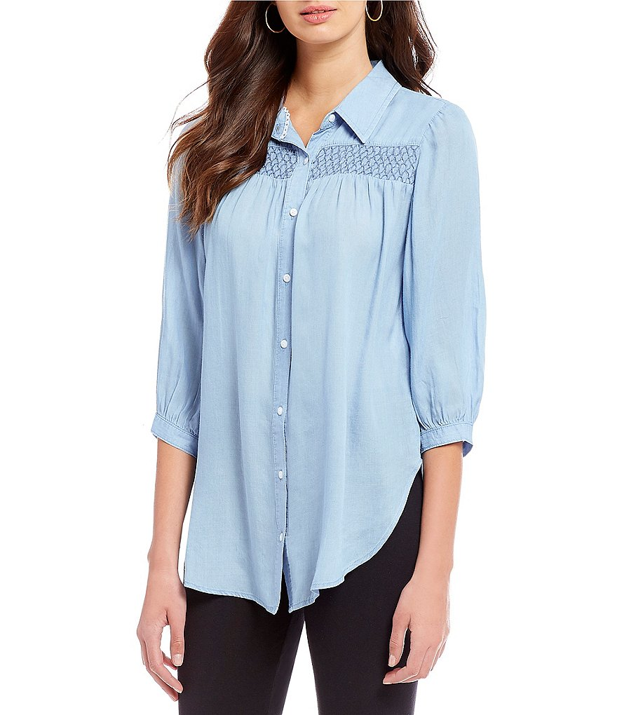Intro 3/4 Sleeve Smocking Front Detail Denim Tunic