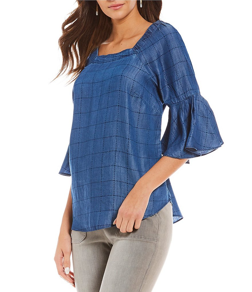 Intro Convertible On-Or-Off The Shoulder Bell Sleeve Gridded Lyocell Denim Top