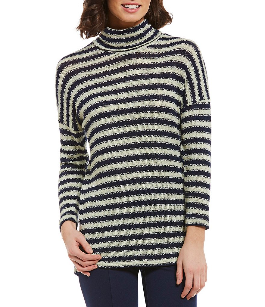 Intro Hacci Jaquard Stripe Long Sleeve Top