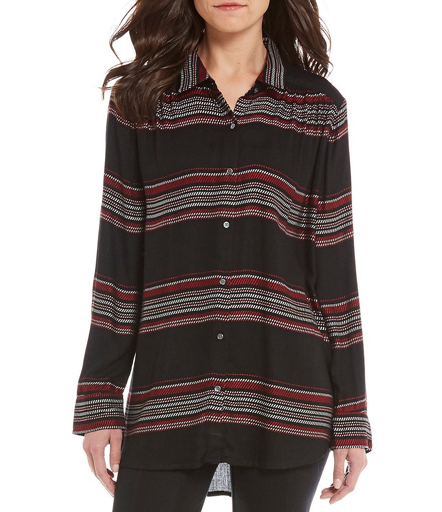 Intro Long Sleeve Stripe Button Front Shirt