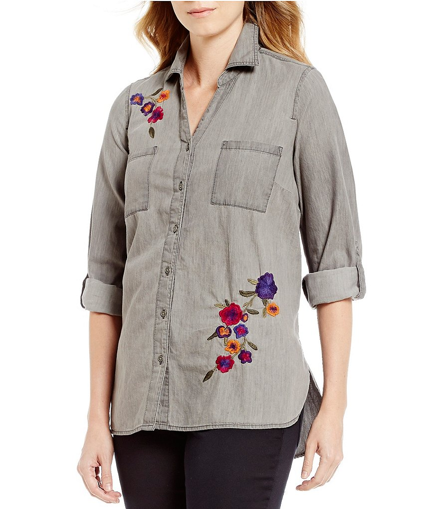 Intro Petite Roll-Tab Sleeve Denim Floral Embroidered Button Front Shirt