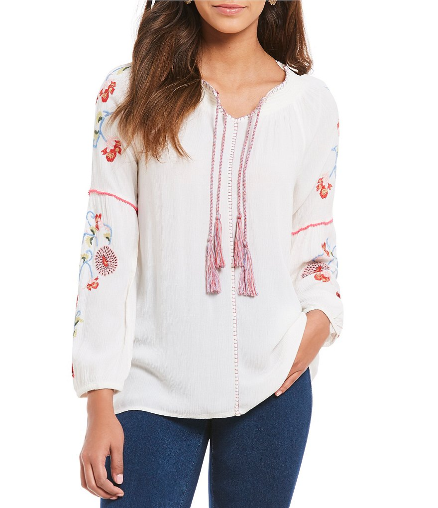 Intro Petites Tassel Tie-Neck Floral Embroidered Peasant Top