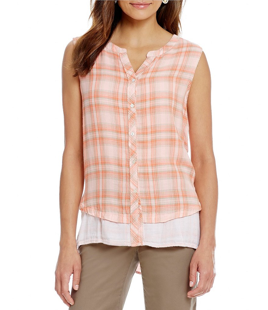Intro Plaid Button-Down Gauze Blouse