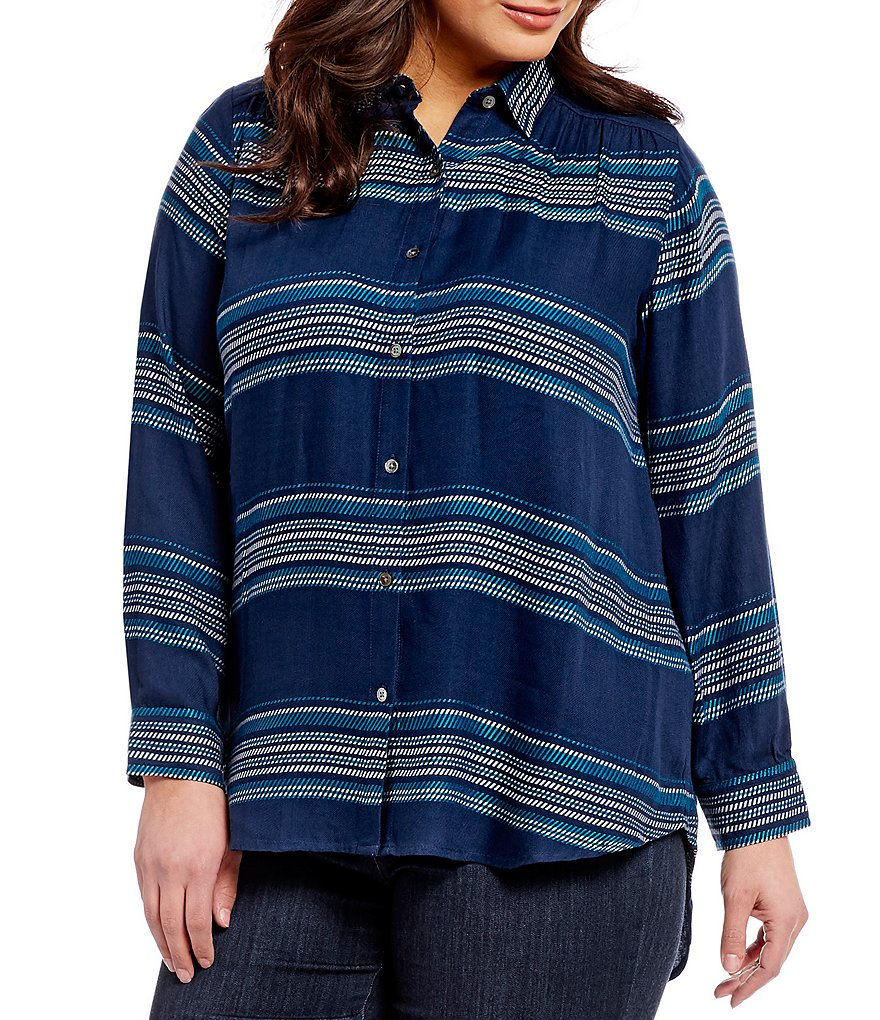 Intro Plus Long Sleeve Stripe Button Front Shirt
