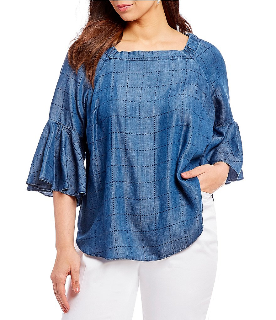 Intro Plus Size Convertible On-Or-Off The Shoulder Bell Sleeve Gridded Lyocell Denim Top