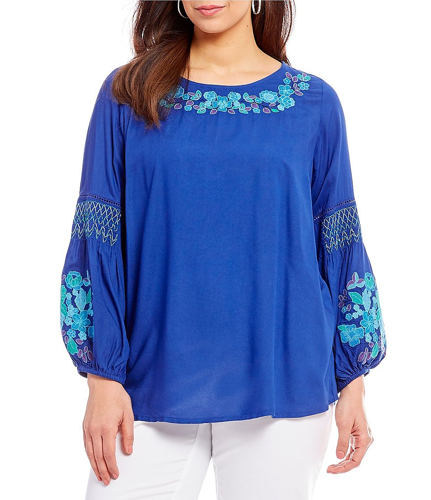 Intro Plus Size Embroidered Peasant Top