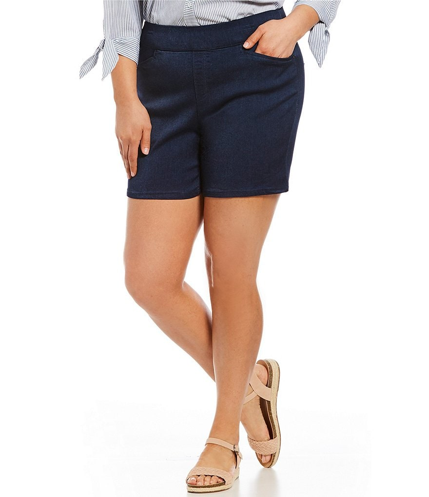 Intro Plus Size Sheri Denim-Style Pull-On Shorts