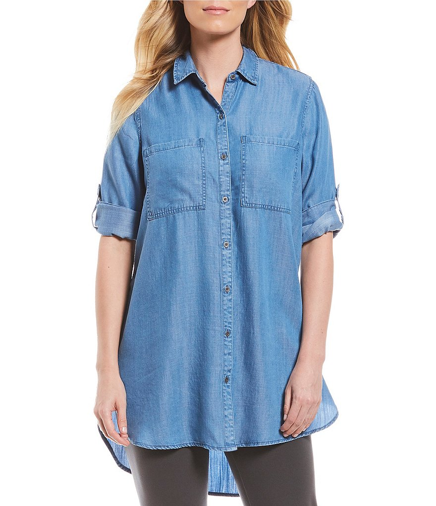 Intro Roll-Tab Sleeves Button Down Lyocell Tunic