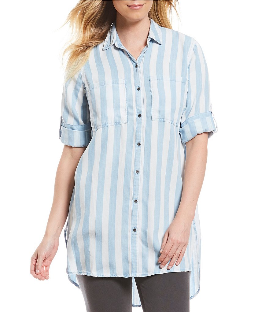Intro Roll-Tab Sleeves Stripe Print Button Down Lyocell Tunic