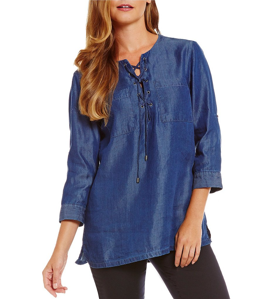 Intro Solid Denim Lace-Up Chambray Top