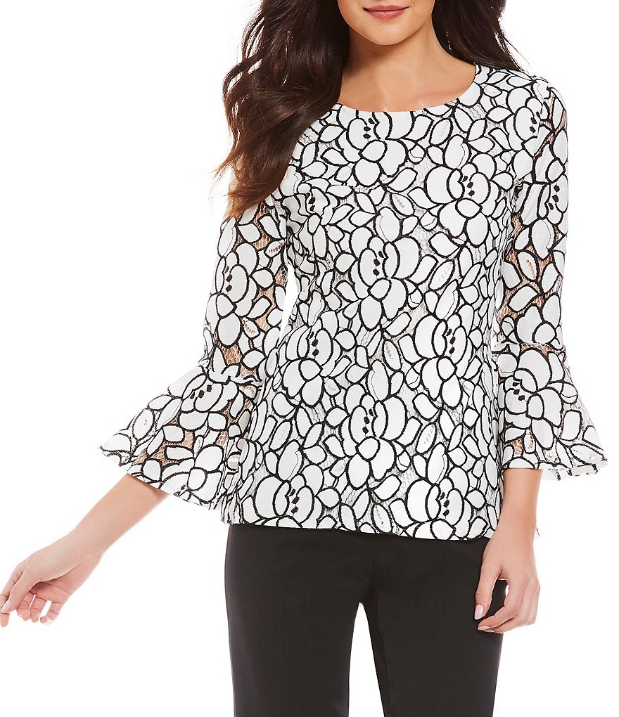 Investments 3/4 Bell Sleeve Floral Lace Blouse