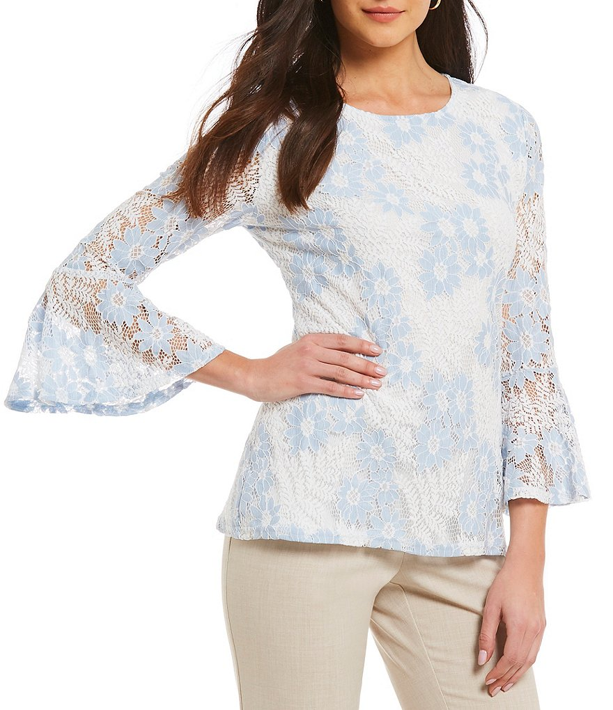Investments 3/4 Bell Sleeve Lace Top