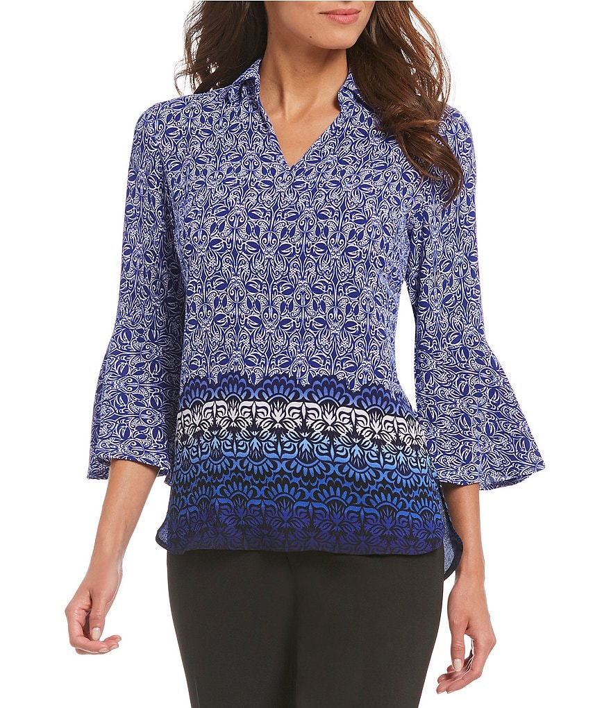 Investments Tribal Motif 3/4 Bell Sleeve Split Top