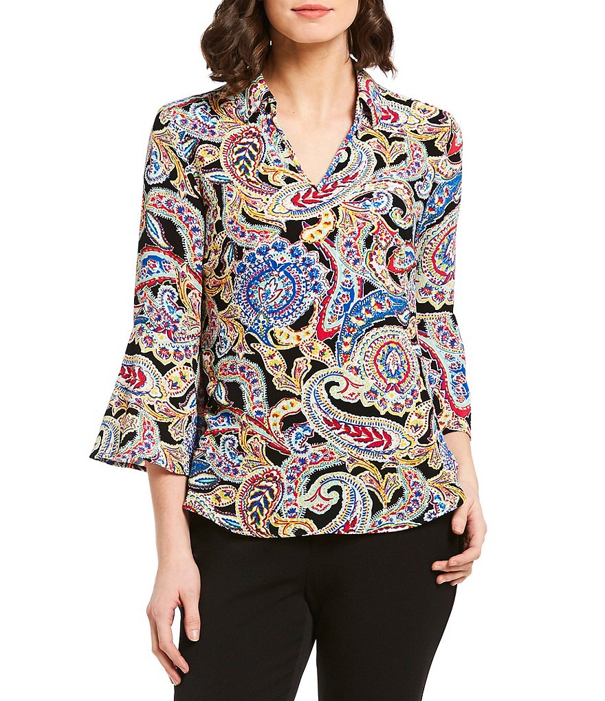 Investments Paisley Print 3/4 Sleeve Split Top