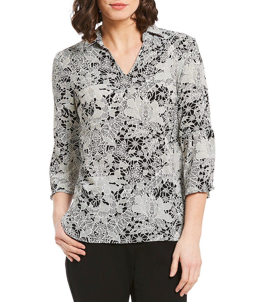 Investments Geo Floral Print 3/4 Sleeve Split Top