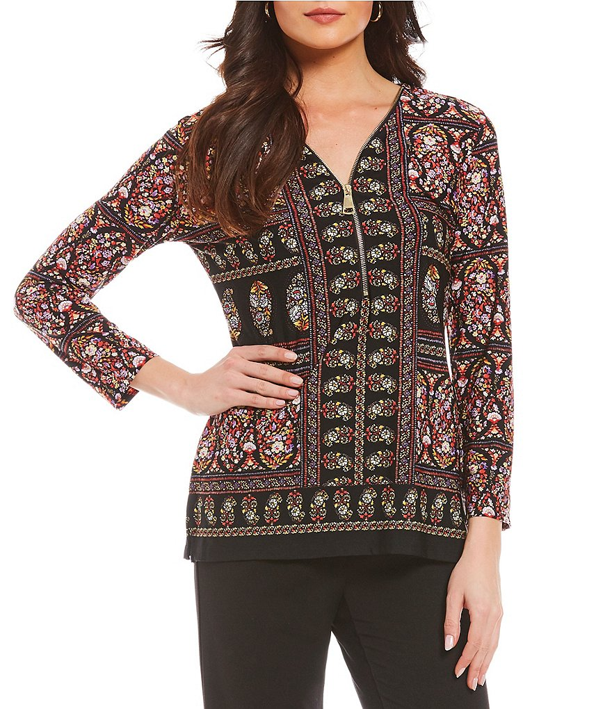 Investments 3/4 Sleeve Y-Neck Paisley Print Zipper Top