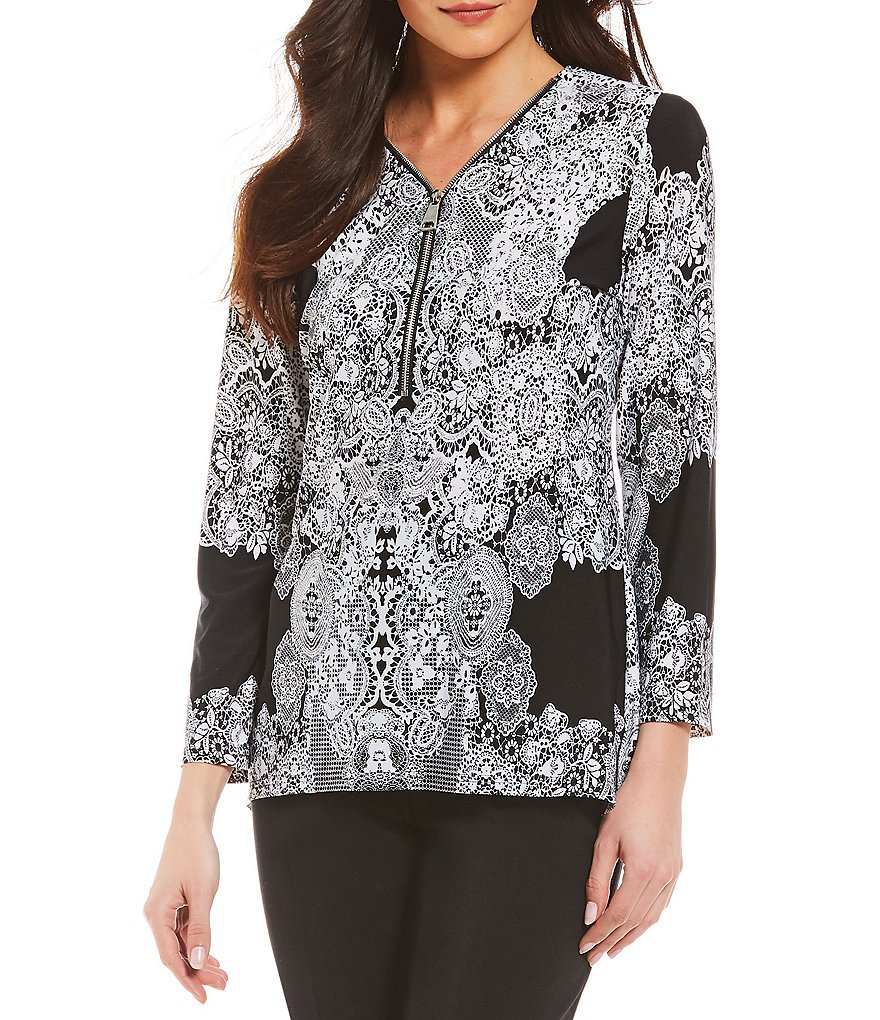 Investments Lace Print 3/4 Sleeve Y-Neck Zipper Top