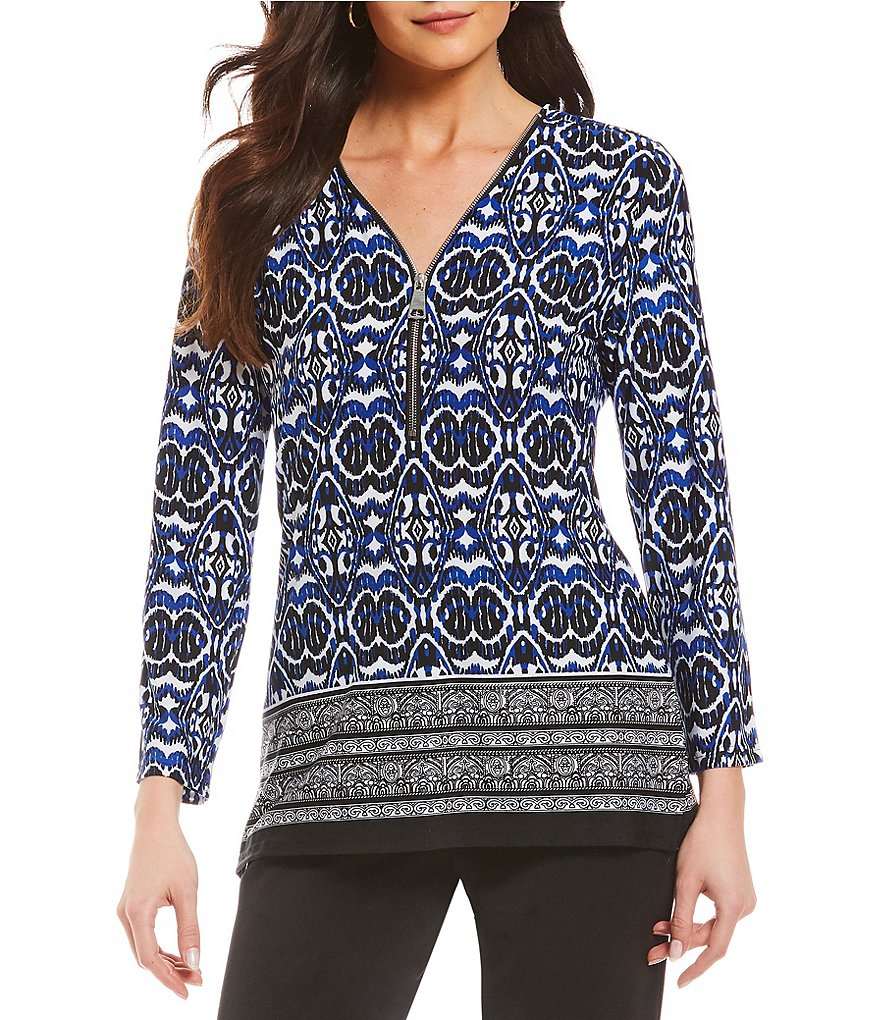 Investments Ikat Print 3/4 Sleeve Y-Neck Zipper Top