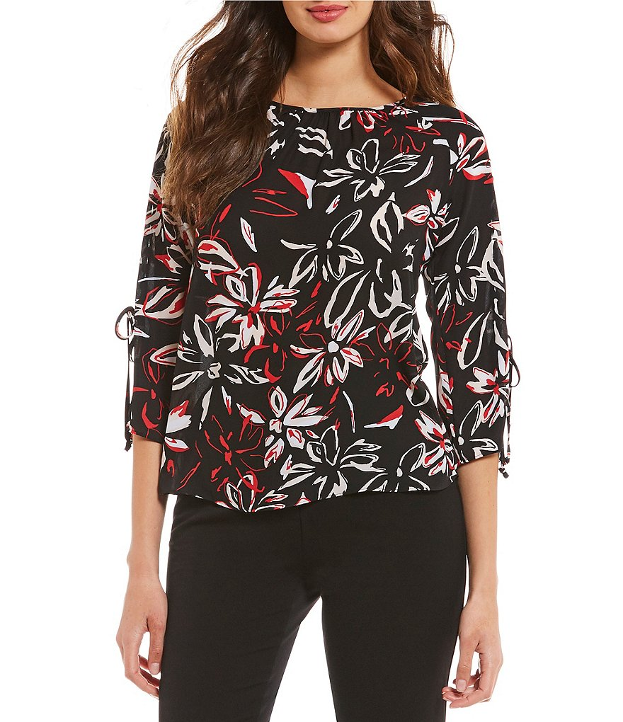 Investments Long Sleeve Black Floral Popover