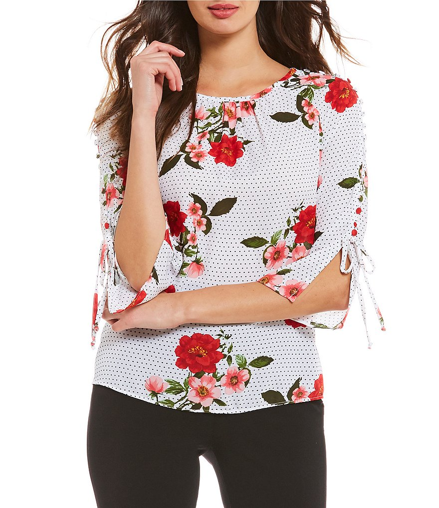 Investments Long Tie Sleeve Dot Floral Popover