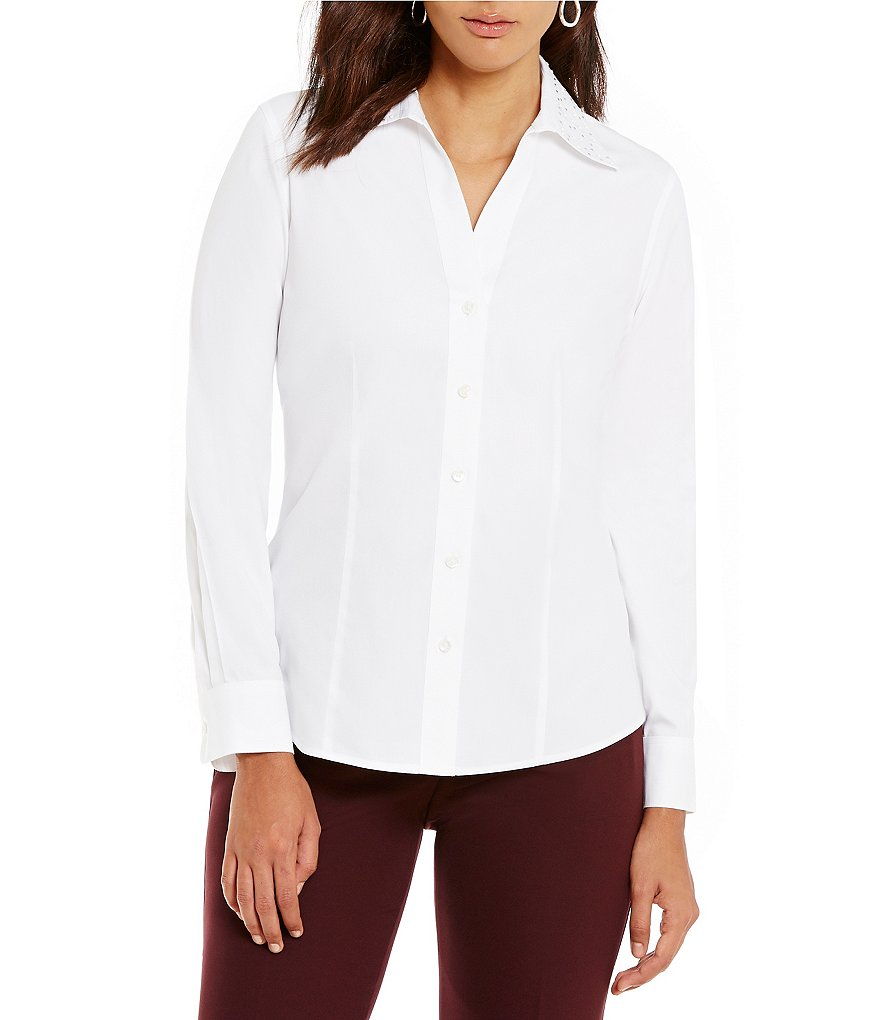Investments Petite Embellished Point Collar Button-Front Shirt