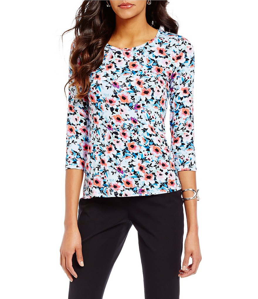 Investments Petite Essentials 3/4 Sleeve Printed Top