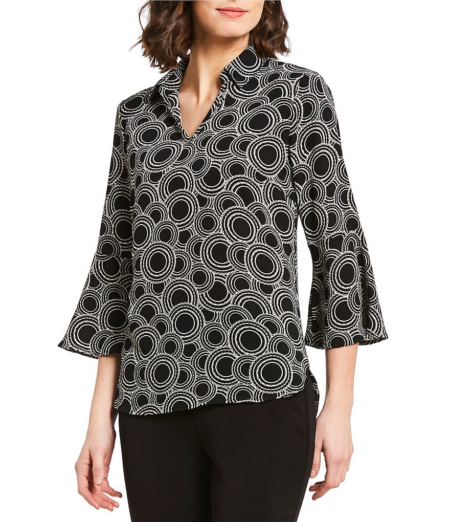 Investments Petites Ornate Scale Print 3/4 Sleeve Split Top