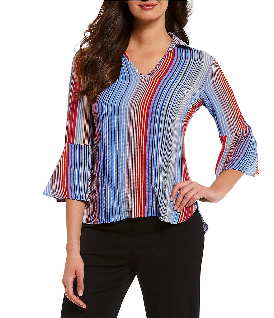 Investments Petites 3/4 Bell Sleeve Stripe Split Top