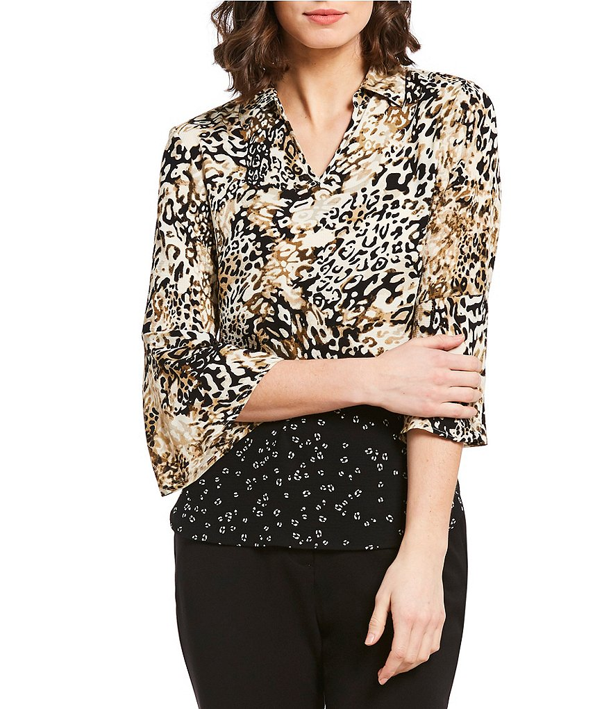 Investments Petites Leopard Print 3/4 Sleeve Split Top