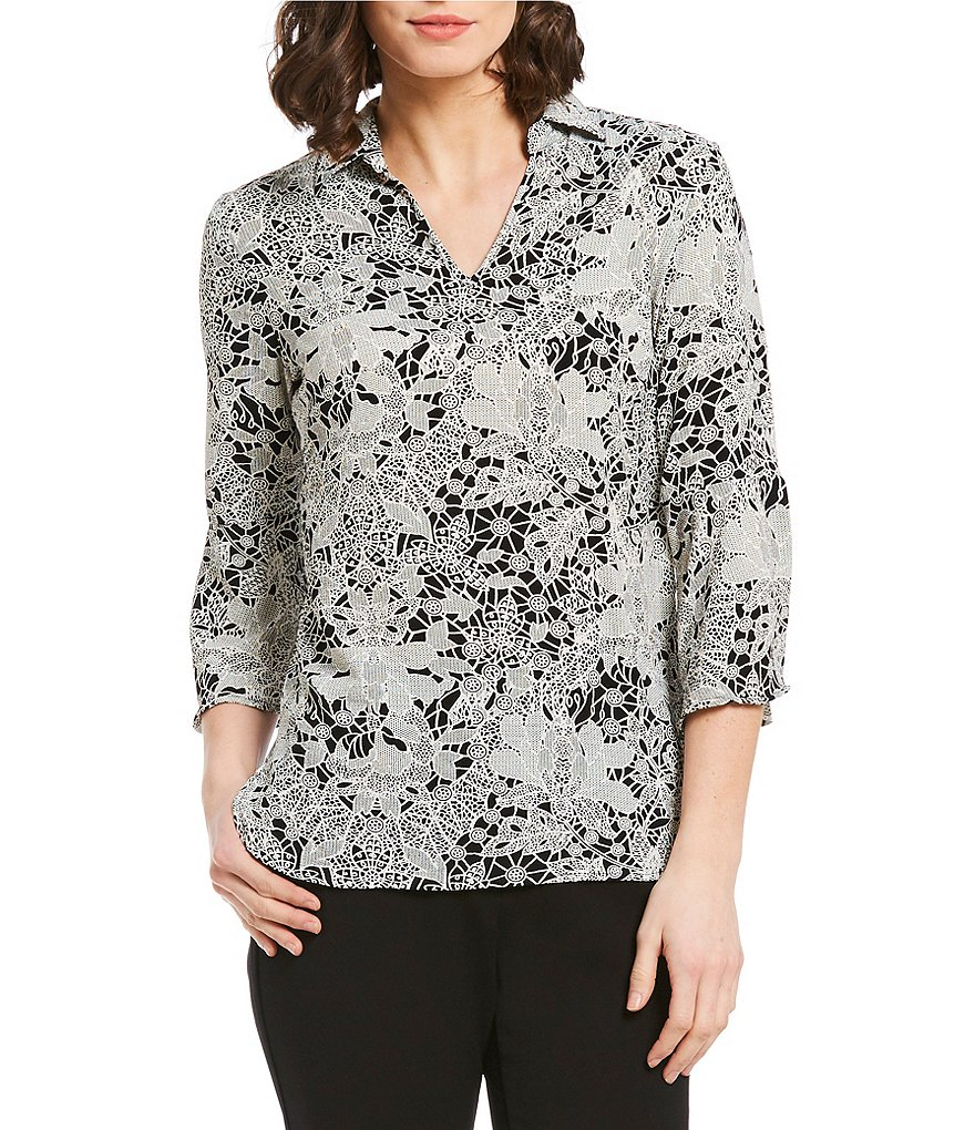 Investments Petites 3/4 Bell Sleeve Split Top